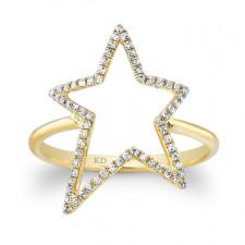 YELLOW GOLD INSPIRED STAR DIAMOND RING