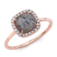ROSE GOLD INSPIRED HALO ROUGH DIAMOND RING