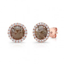 ROSE GOLD INSPIRED HALO ROUGH DIAMOND EARRINGS