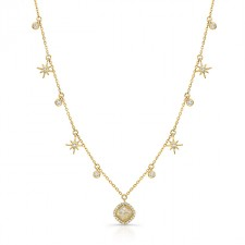 YELLOW GOLD CONTEMPORARY ROUGH DIAMOND LARIAT PENDANT