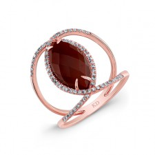ROSE GOLD CONTEMPORARY RED AGATE DIAMOND RING