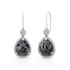 WHITE GOLD TRENDY ROUGH DIAMOND DANGLE EARRINGS