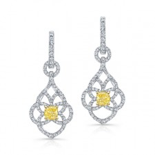 WHITE AND YELLOW GOLD FANCY YELLOW CUSHION DIAMOND DANGLE EARRINGS