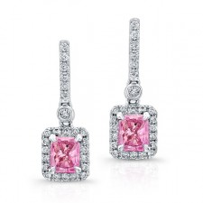 WHITE GOLD ELEGANT PINK ENHANCED RADIANT DIAMOND EARRINGS