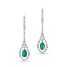 NATURAL COLOR WHITE GOLD TEARDROP EMERALD DIAMOND DANGLE EARRINGS