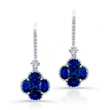 NATURAL COLOR WHITE GOLD SAPPHIRE FLOWER DIAMOND DROP EARRINGS