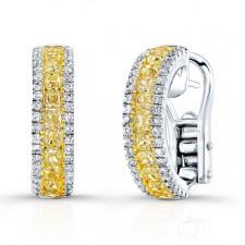 WHITE & YELLOW GOLD FANCY YELLOW SEMI-HOOP DIAMOND EARRINGS