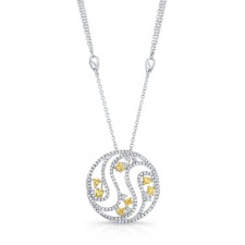 WHITE GOLD INSPIRED NATURAL YELLOW SWIRLED DIAMOND PENDANT