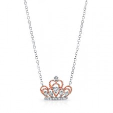 WHITE & ROSE GOLD CONTEMPORARY TIARA DIAMOND PENDANT