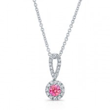 WHITE GOLD ELEGANT PINK ENHANCED ROUND DIAMOND PENDANT