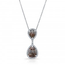 WHITE GOLD TRENDY ROUGH DIAMOND PENDANT