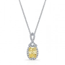 WHITE AND YELLOW GOLD TWISTED FANCY YELLOW CUSHION DIAMOND PENDANT
