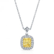 WHITE AND YELLOW GOLD CUSHION FANCY YELLOW HALO DIAMOND PENDANT