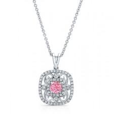 WHITE GOLD VINTAGE PINK ENHANCED CUSHION DIAMOND PENDANT