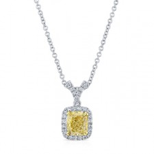 WHITE AND YELLOW GOLD CUSHION FANCY YELLOW DIAMOND HALO PENDANT