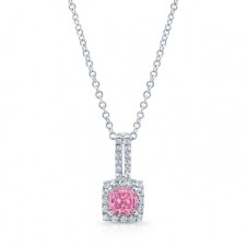 WHITE GOLD PINK ENHANCED RADIANT DIAMOND PENDANT