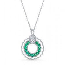 NATURAL COLOR WHITE GOLD INSPIRED CIRCLE OF LOVE EMERALD DIAMOND PENDANT