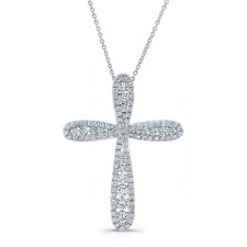 WHITE GOLD  INSPIRED VINTAGE DIAMOND CROSS PENDANT