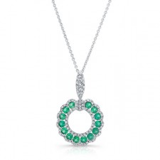 NATURAL COLOR WHITE GOLD CIRCLE OF LOVE EMERALD DIAMOND PENDANT