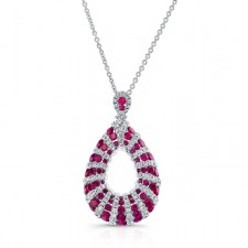 NATURAL COLOR 18K WHITE GOLD RUBY TRENDY TEAR DROP DIAMOND PENDANT