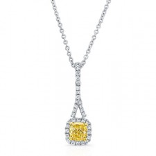 WHITE AND YELLOW GOLD CUSHION FANCY YELLOW DIAMOND PENDANT