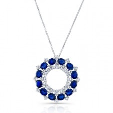NATURAL COLOR WHITE GOLD CIRCLE OF LOVE SAPPHIRE DIAMOND PENDANT