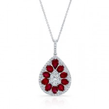 NATURAL COLOR WHITE GOLD TEAR DROP RUBY DIAMOND PENDANT