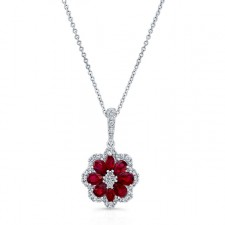 NATURAL COLOR WHITE GOLD INSPIRED RUBY DIAMOND FLOWER PENDANT