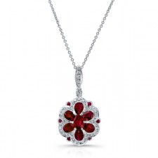 NATURAL COLOR WHITE GOLD VINTAGE RUBY DIAMOND FLOWER PENDANT