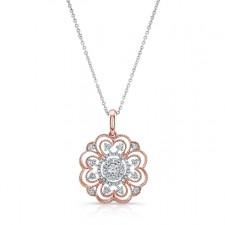 WHITE & ROSE GOLD INSPIRED VINTAGE FLOWER WHITE DIAMOND PENDANT