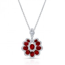 NATURAL COLOR WHITE GOLD RUBY FLOWER DIAMOND PENDANT