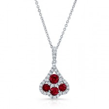 NATURAL COLOR WHITE GOLD CONTEMPORARY RUBY DIAMOND PENDANT