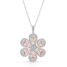 ROSE GOLD VINTAGE SWIRLED  WHITE DIAMONDS PENDANT