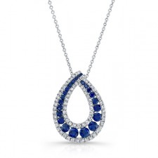 NATURAL COLOR WHITE GOLD TRENDY SAPPHIRE TEAR DROP DIAMOND PENDANT