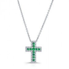 NATURAL COLOR WHITE GOLD EMERALD CROSS DIAMOND PENDANT
