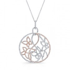 WHITE & ROSE GOLD CONTEMPORARY FLOWER DIAMOND PENDANT