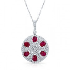 WHITE GOLD NATURAL COLOR VINTAGE RUBY DIAMOND PENDANT