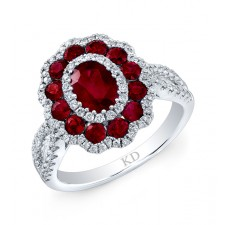 NATURAL COLOR WHITE GOLD RUBY FLOWER DIAMOND RING