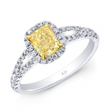 WHITE AND YELLOW GOLD ELEGANT FANCY YELLOW CUSHION DIAMOND BRIDAL RING