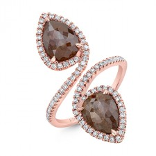 ROSE GOLD FASHION PEAR ROUGH DIAMOND RING