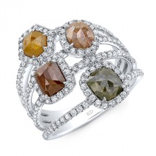 WHITE GOLD FOUR - STONE DAZZLING ROUGH DIAMOND RING