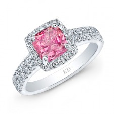 WHITE GOLD ELEGANT PINK ENHANCED CUSHION DIAMOND RING