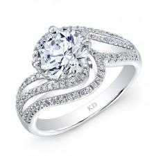 WHITE GOLD FASHION SWIRLED DIAMOND ENGAGEMENT  RING