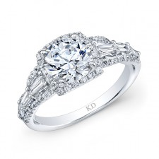 WHITE GOLD CLASSIC HALO DIAMOND ENGAGEMENT RING