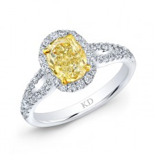WHITE AND YELLOW GOLD FANCY YELLOW OVAL DIAMOND RING
