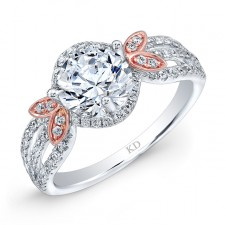 WHITE & ROSE GOLD FASHION HALO DIAMOND ENGAGEMENT RING