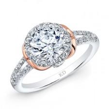 WHITE & ROSE GOLD CLASSIC HALO DIAMOND ENGAGEMENT RING