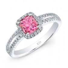 WHITE GOLD PINK ENHANCED SQUARE HALO DIAMOND BRIDAL RING