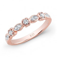 ROSE GOLD FASHION BLEND WHITE DIAMOND BAND