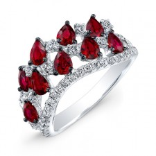 WHITE GOLD NATURAL COLOR FASHION RUBY DIAMOND RING